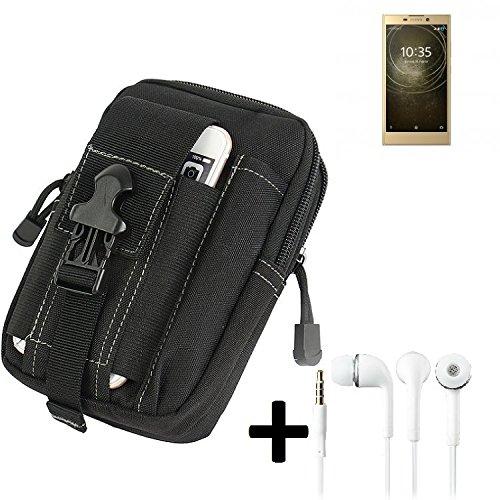 K-S-Trade Gürteltache für Sony Xperia L2 Dual-SIM Gürtel Tasche Schutzhülle Handy Schutz Hülle Smartphone Tasche Outdoor Handyhülle schwarz inkl. Extrafächer + Kopfhörer
