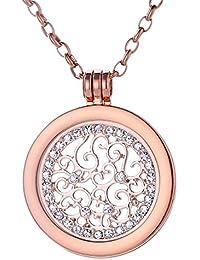Morella Damen Halskette rosegold 70 cm Edelstahl mit Anhänger und Coin 33 mm in Schmuckbeutel