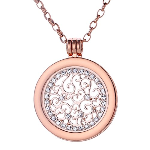 Morella Damen Halskette rosegold 70 cm Edelstahl mit Anhänger und Coin 33 mm Zirkonia Ornament in Schmuckbeutel