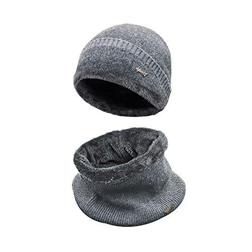 Wintermütze Warm Beanie Strickmütze und Schal mit Fleecefutter (Grau)