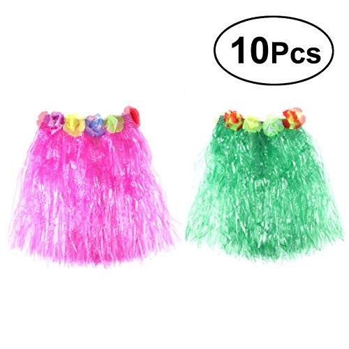 Tropical Hula Gras Rock Hawaiian Kostüm Kostüm Set Kinder Blume Leis Armbänder Halskette Set (Grün und Rosa Rock) ()