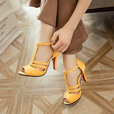 LFNLYX donna sandali estivi scarpe Club Comfort cinturino alla caviglia PU party di nozze & abito da sera Stiletto Heel fibbia nero giallo rosso bianco a piedi Red