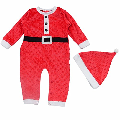 Weihnachtsmann Baby Kinder Kostüm | ZEZKT-Baby Jungen Mädchen Kleinkind Weihnachtsmannanzug Strampler & Hat Set Weihnachten Kostüme Outfits +Hut (Größe:80 6Monate, (Elfen Kostüme Neugeborenen)