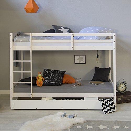 Homestyle4u 1432, Etagenbett für Kinder, 90x200 cm, Weiß