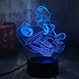 Sproud Moto Mario Bell 7 colores Touch Super Mario 3D Night Light/Juego Figura de acción LED Baby Table Lamp/Kid Toy Home Decor Xmas Birthday Gift/LED Night Lights