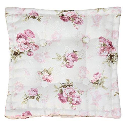 Sitzkissen Stuhlkissen ROSI 40x40x8 Rosen - rosa weiß Auflage Landhaus