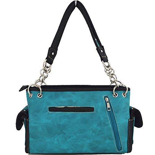 Blancho Biancheria da letto delle donne [creativo pizzo] PU Leather Bag Set Elegante Portafoglio Hanbag Comobo Fashion Bag Turchese Handbag-Turchese