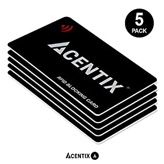 5 x RFID/NFC Blocking Cards by ACENTIX, Credit/Debit Card Protection for Your Entire Wallet or Purse | No Batteries Required, No Fiddly Sleeves - Black