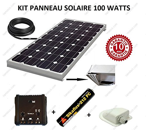 kit panneau solaire 100w 12v camping car bateau ma. Black Bedroom Furniture Sets. Home Design Ideas