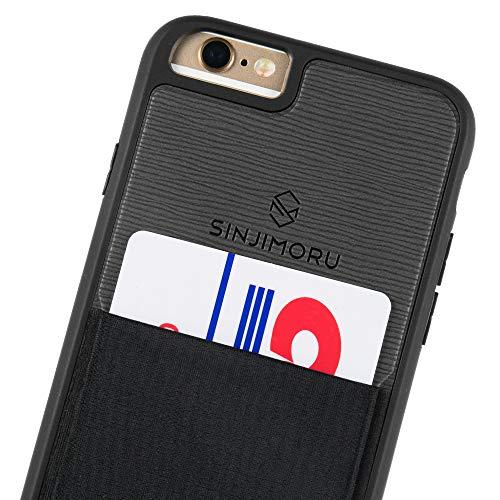 Sinjimoru iPhone 6 / 6s Wallet Case, iPhone 6 Hülle mit Kartenfach/iPhone 6 Schutzhülle mit Smart Wallet Kartenhalter. Sinji Pouch Case für iPhone 6 / 6s, Schwarz.