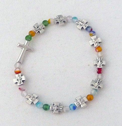 Rosenkranz-Armband 'Kreuze/Bunte Perlen'