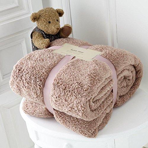 Quest-Mart® Luxus-Teddybär-Fleecedecke, Kuscheldecke/Überwurf für Sofa/Bett/Couch, mink, 200 x 240 cm