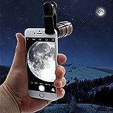 8X Handy Teleobjektiv, Universal 8X HD360 Clip-On Tele Teleskop Kamera Handy Zoom Objektiv für iPhone X / 8 7 Plus / 6S Samsung Galaxy S8 S7 Huawei und die meisten Android Smartphone (Schwarz)