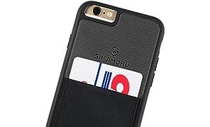 Sinjimoru Coque iPhone 6 / 6s avec Porte-Cartes, étui pour Carte iPhone 6 / 6s ou étui Portefeuille pour iPhone 6 / 6s avec Porte-Cartes. Etui Sinji Pouch pour iPhone 6 / 6s, Noir