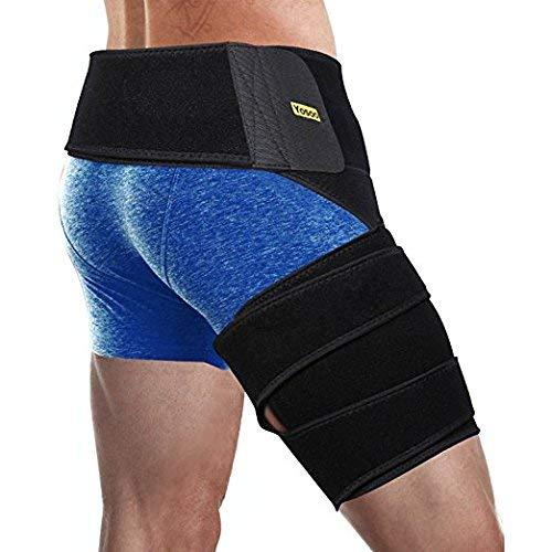 Oberschenkelbandage, Einstellbare Neopren Groin Stützbandage mit Taille und Oberschenkel Wickle Unterstützen Hilft Entlasten Leistenproblemen Sportverletzungen -