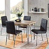Pharao24 Essgruppe mit ausziehbarem Tisch Sonoma Eiche und Schwarz Kunstleder