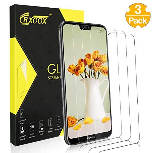 CRXOOX 3 Pezzi Pellicola Protettiva per Huawei P20 Lite Resistente ai Graffi Pellicola Proteggi Senza Bolle d'Aria Durezza 9H Schermo in Vetro Temperato per Huawei P20 Lite Trasparente