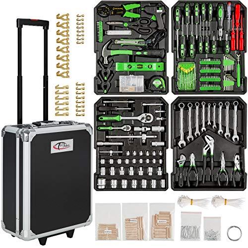 TecTake 401321- Set de herramientas, en maletín carrito portaherramientas de aluminio, 799 piezas