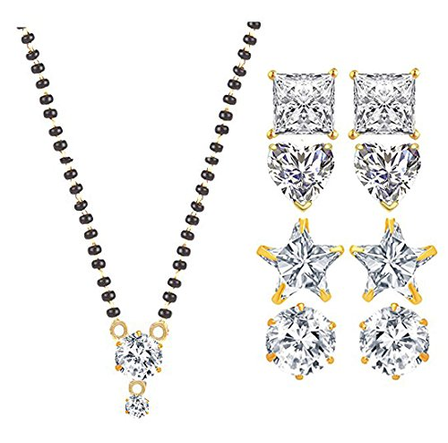 YouBella Jewellery Traditional Designer Gold Plated Mangalsutra and 4 Fancy party wear Earrings - Combo of 5 Jewellery For Women and Girls