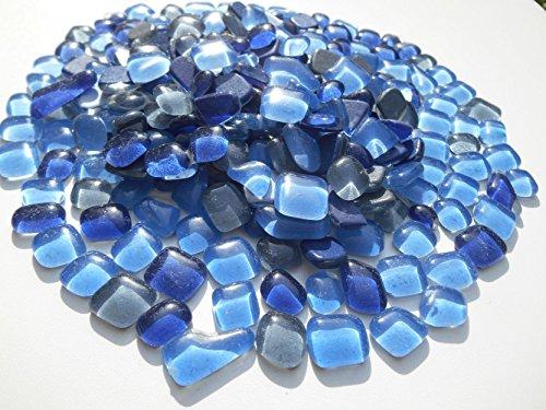 Mosaiksteine Polygonal 1000g Blau Grau Mix Glastropfen lose Glassteine zum Basteln