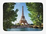 Eiffel Tower Bath Mat, Eiffel Tower Paris France Trees Famous Skyline Sunny Summer, Plush Bathroom Decor Mat with Non Slip Backing, 23.6 W X 15.7 W Inches, Apple Green Blue Pale Brown