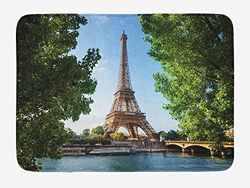 Eiffel Tower Bath Mat, Eiffel Tower Paris France Trees Famous Skyline Sunny Summer, Plush Bathroom Decor Mat with Non Slip Backing, 23.6 W X 15.7 W Inches, Apple Green Blue Pale Brown (Rv-monster-truck)