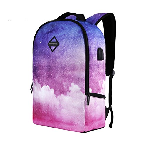 TTD Galaxy patrón mochila Colegio bolsas de escuela con USB de carga y puerto de auriculares de peso ligero para senderismo viajes camping-Tipo E