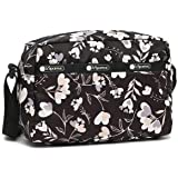 LeSportsac Lovely Night Daniella Umhängetasche, Stil 2434/Farbe F534, moderne bunte Herzblumen auf klassischer schwarzer Tasc