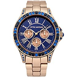 Little Mistress Women's Quartz Watch with Blue Dial Analogue Display and Rose Gold Bracelet LM004