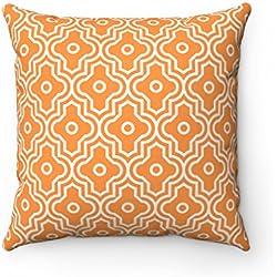 43x 43cm diseño geométrico enrejado marroquí azulejos Quatrefoil–Cojín Funda de almohada, Naranja, 43 x 43cm