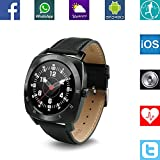 Banaus® B3 IP53 Waterproof Sport Fashion Smartwatch with Heart Rate Monitor Bluetooth 4.0 for Samsung S4/S5/S6/S7/Note3/Note4/Note5/Note6 Sony LG Xiaomi Huawei ZUK for iPhone 5/5C/5S/6/6S Black