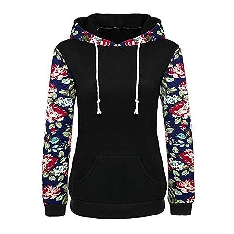 Damen Pullover Btruely Frauen Herbst Blumen Gedruckt Retro Hoodie Sweatshirt Langarm Bluse Causal Tops (Schwarz, (Zurück Pullover)