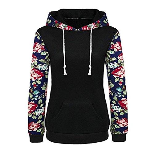 Damen Pullover Btruely Frauen Herbst Blumen Gedruckt Retro Hoodie Sweatshirt Langarm Bluse Causal Tops (Schwarz, M)