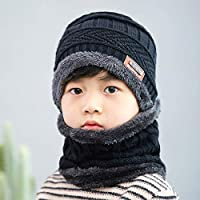 HAOLIEQUAN Children's Knit Beanies Hat Scarf Sets Winter Cute Soft Cap Scarves Warm Plus Velvet Thicken Slouchy Kids Boy Girl Ski