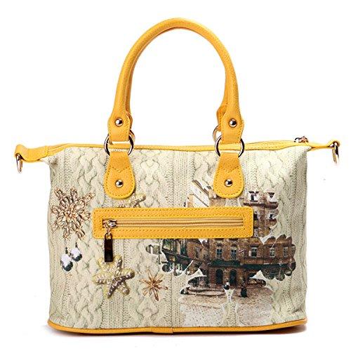 Eshow Borse a tracolla da donna di tela a mano Multifunzione per viaggio sacchetto borsa shopper bag shopping trekking giallo