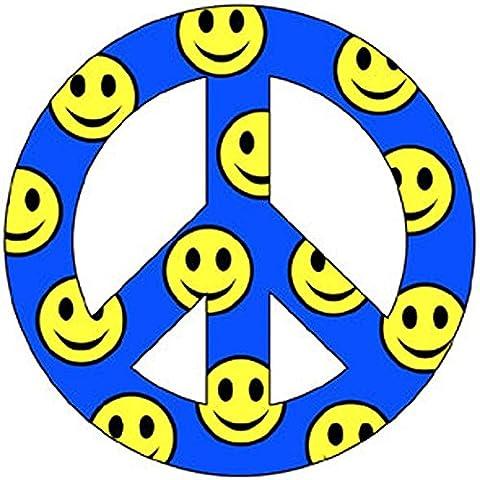 Smiley bleu paix 10,2cm voiture/Aimant de réfrigérateur