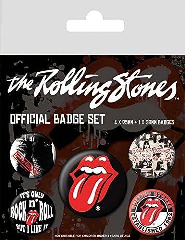 Set: Rolling Stones, Classic, 1 X 38mm & 4 X 25mm Badges Paquet De Badges (15x10 cm) + 1x Sticker Surprise 1art1®