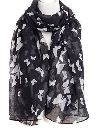 HotStyleZone Tout Neuf écharpe châle Sarong pour femmes Imprimé Papillon Crème Rose Gris Noir Mauve