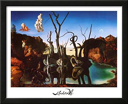 Salvador Dali Swans Reflecting Elephants White Border Art Print Poster Framed Art Print 22 x 18in by Buyartforless - Swans Reflecting Elephants Von Dali