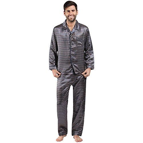 Preisvergleich Produktbild Mens / Gentlemens Nachtwäsche / Sleepwear Satin gedruckt Langarm Pyjama Anzug Satz,  verschiedene Farben & Größen