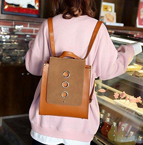 QPALZMWomen PU-Leder-Rucksack Vintage College School Rucksack-Tasche Einfache Mattierte Reisetasche Grey