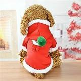 dingsheng Hunde-Kapuzenjacke mit Kapuze für kleine Hunde, warm, Weihnachten, Elch, Legerer Mantel Rot L