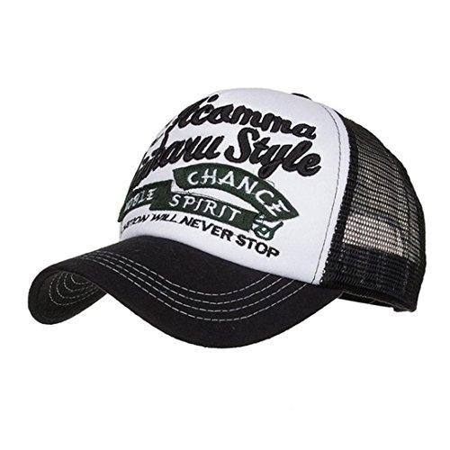ren und Damen, Mode Frauen Männer Einstellbare Applique Stickerei Baseballmütze Hut Mesh Cap Schatten | Basecap, Baseball Cap, verstellbar (Schwarz) (Roll-up Outdoor-schatten)