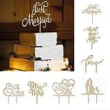 OULII Herrn Frau Holz Kuchen Toppers Party Dekoration von Kuchen Jahrestag Engagement Abschlagen der Hochzeit