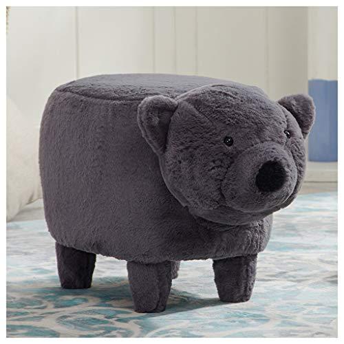 Zcxbhd Tier Schemel Ottomane Süß Kinder Spielzeug Schuhe Wechseln Zum Kinder Solide Holz Fußbank Weißer Bär Grizzly (Farbe : A) -