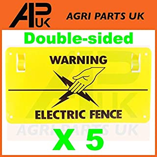 APUK 5 x Electric Fence Warning Plastic Sign Double Sided Poly Wire tape Screw Fixing