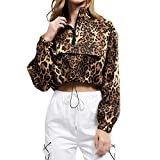 Yvelands Damen Sweatshirt Pius Shirts Kleidung Leopard Langarm Zipper Bluse Tops(Gelb,CN-S)