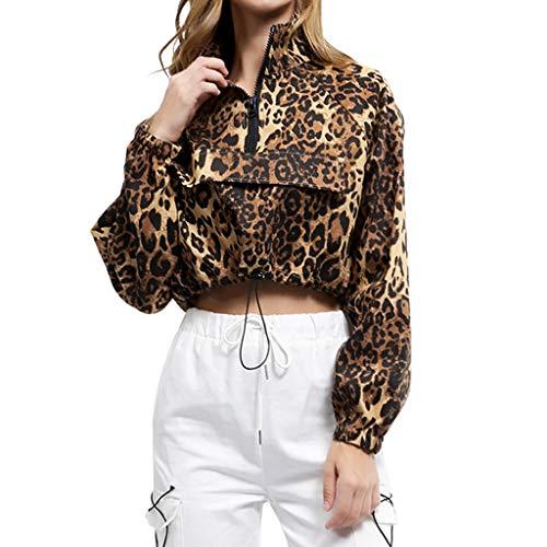 Luckycat Mujeres Tallas Grandes Camisas Ropa Leopardo Blusa con Cremallera Manga Larga Tops