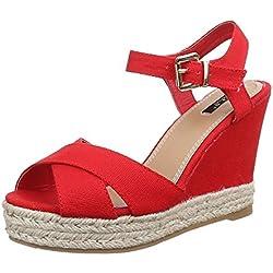 Damen Schuhe, 1341-KL, SANDALETTEN, ESPADRILLES KEIL WEDGES PUMPS, Textil , Rot, Gr 40
