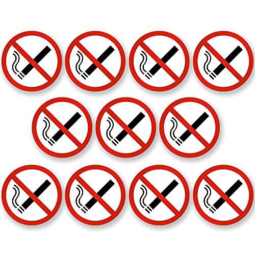 KAVARO 10 Stück Aufkleber Rauchverbot - Rauchen verboten - z.B. für Auto [5cm]